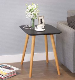 Black Square Solid Center Table On Black Color White Color With Smooth Foot